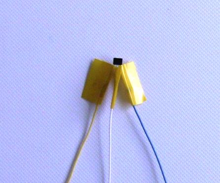 『 非接触ホールセンサースイッチ 』 ..ハンダづけした部分とリード線の露出部分を絶縁テープで保護します。..
