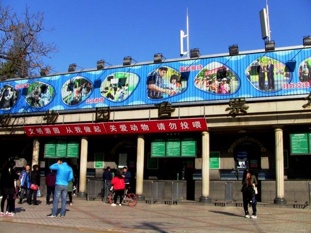 『 北京動物園のパンダはオリンピック広場で食う寝る遊ぶ三昧 』 ..通路ではパンダのイラストが道案内をしていますのでその通りに歩けば北京動物園前に出ます。..
