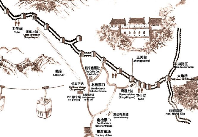 『 【慕田峪長城】スライダーが最高!バスと行き方のまとめ 』 ..慕田峪長城の地図です。..