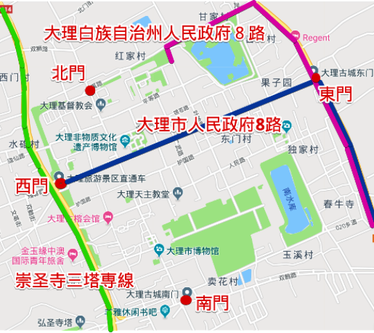 『 もう迷わない!大理駅から大理古城へ8路バスで移動する 』 大理駅からバスで大理古城に移動するには8路バスが便利です。,,,,,..大理古城とバス路線図です。..