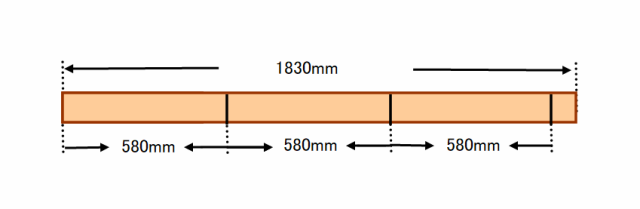 『 ベランダに置けるおしゃれな焼杉風プランター棚の作り方 』 ..作成したワンバイツー1本を580mm/580mm/580mmとカットします。..