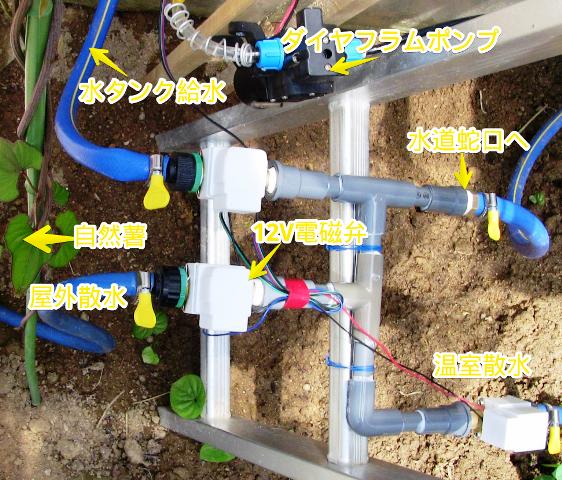 『 arduinoと電磁弁で自動散水システムを自作してみた 』 ..百聞は一見に…ということで、実際に接続した状態です。..