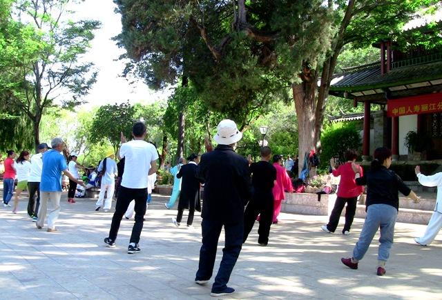 『 【麗江】黒龍澤公園(玉泉公園)で太極拳をマネてみた(^^; 』 ..ゆっくりの動作は意外にもカラダのあちこちの筋肉を使うようです。..