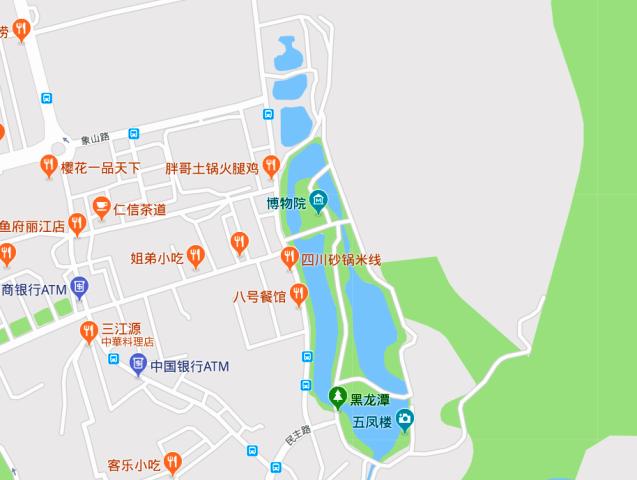 『 【麗江】黒龍澤公園(玉泉公園)で太極拳をマネてみた(^^; 』 ..地図ではここになります。近くには象山路口のバス停があるようです。(^^;..