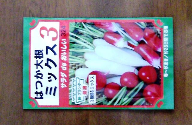 『 20日大根(ラディッシュ)をプランターや水耕栽培で育てる日記 』 ..白姫はつか3種類の種が一つになった「はつか大根 ミックス 3」です。..